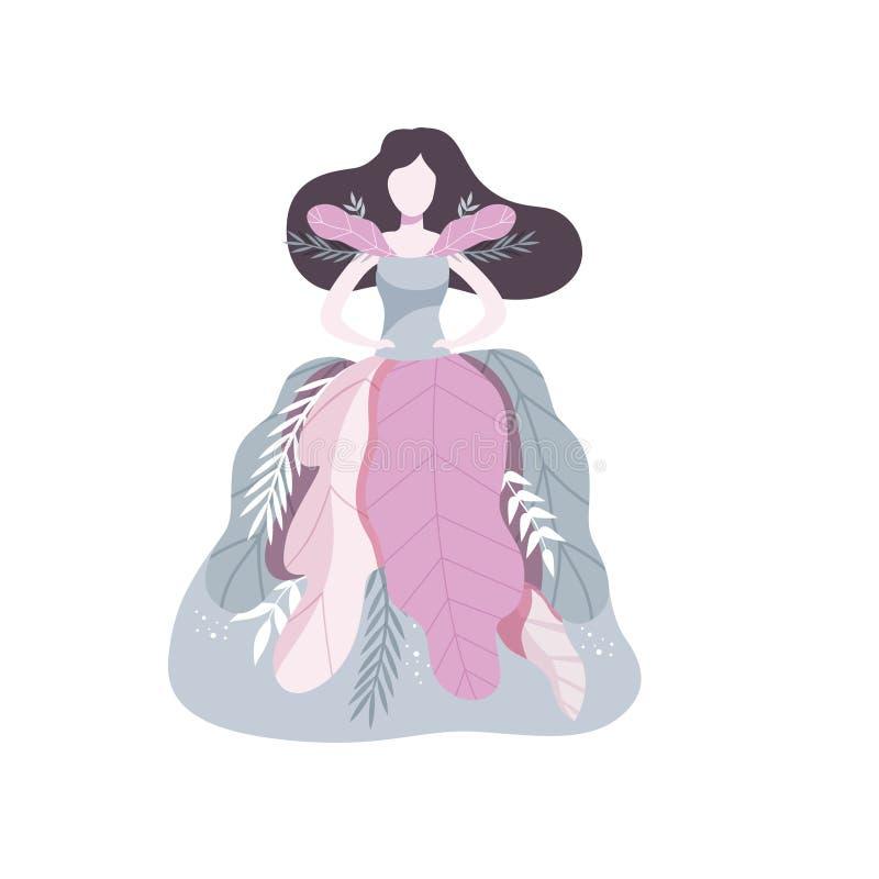 Красивая девушка брюнета нося платье сделанное иллюстрации вектора листьев на белой предпосылке иллюстрация штока