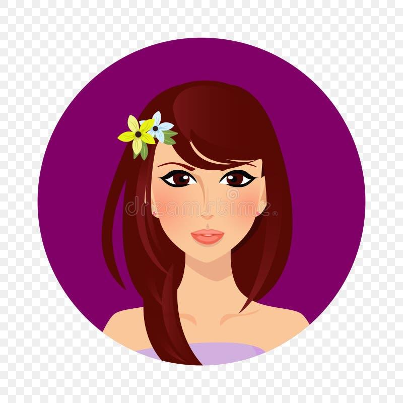 Красивая девушка брюнета с карими глазами и значком длинного портрета волос круглым бесплатная иллюстрация