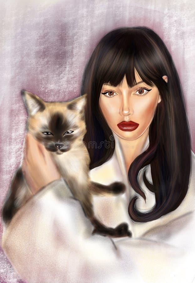 Красивая девушка брюнета с котом иллюстрация вектора