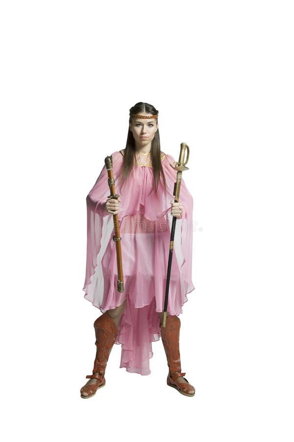 Красивая девушка воина стоковые фотографии rf
