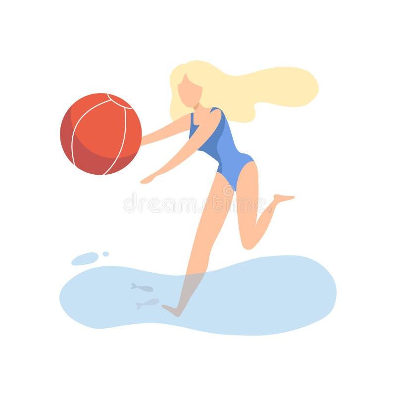 Красивая девушка в голубом купальнике играя с шариком на пляже на иллюстрации вектора летних каникулов иллюстрация штока
