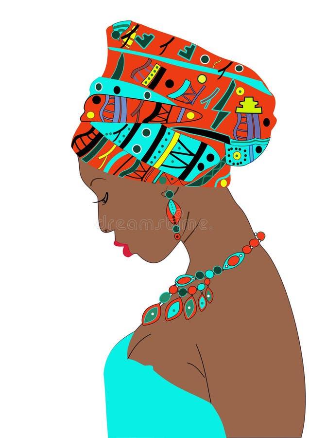Красивая девушка в небесно-голубом платье с темной кожей с тюрбаном на его голове иллюстрация штока