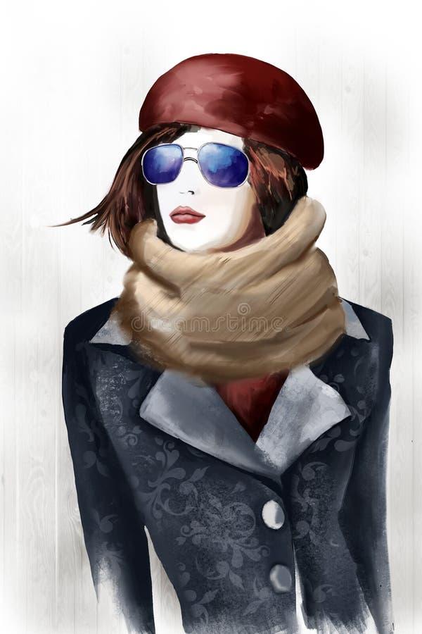 Красивая девушка в пальто и берете, иллюстрации иллюстрация вектора