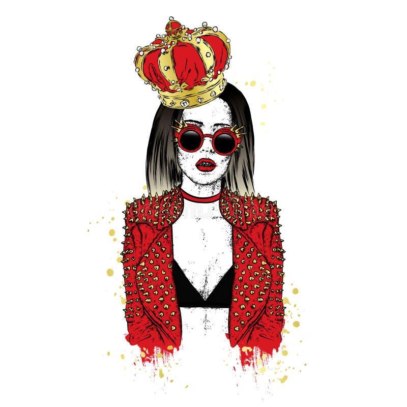 Красивая девушка в стильных куртке, кроне и стеклах с шипами также вектор иллюстрации притяжки corel Мода & стиль иллюстрация штока