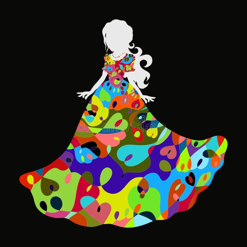 Красивая девушка в торжественном платье с радужным романтичным e иллюстрация штока