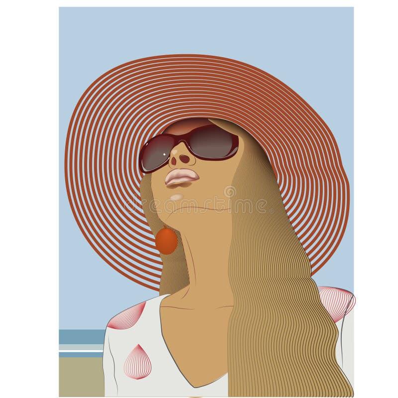 Красивая девушка в шляпе и взгляды солнечных очков в небо морем океана иллюстрация штока