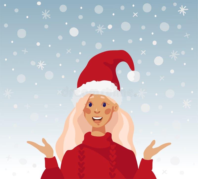 Красивая девушка в шляпе santa Рождественская открытка с девушкой и снегом E иллюстрация штока