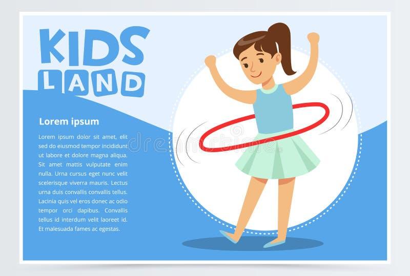 Красивая девушка закручивая обруч hula вокруг ее талии, детей приземляется элемент вектора знамени плоский для вебсайта или перед бесплатная иллюстрация