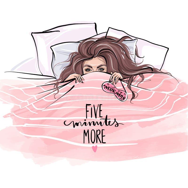 Красивая девушка лежа на мягких подушках и пряча под одеялом в кровати иллюстрация вектора