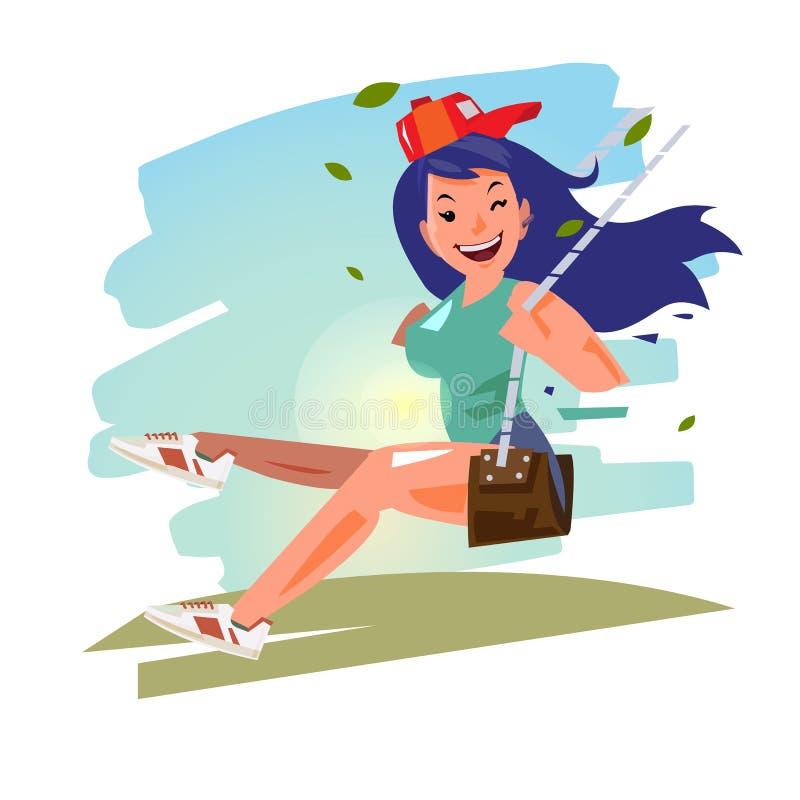 Красивая девушка на качании дизайн характера - иллюстрация бесплатная иллюстрация