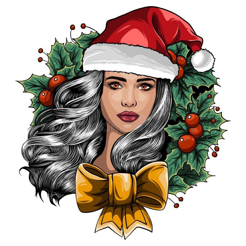 Красивая девушка нося одежды Санта Клауса на белой предпосылке также вектор иллюстрации притяжки corel иллюстрация штока