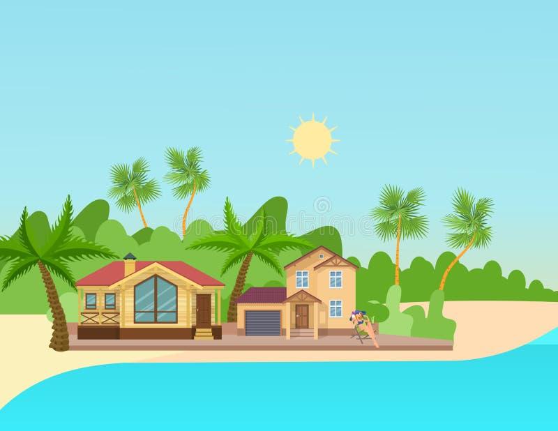 Красивая девушка отдыхая на пляже морским путем, около загородного дома иллюстрация штока