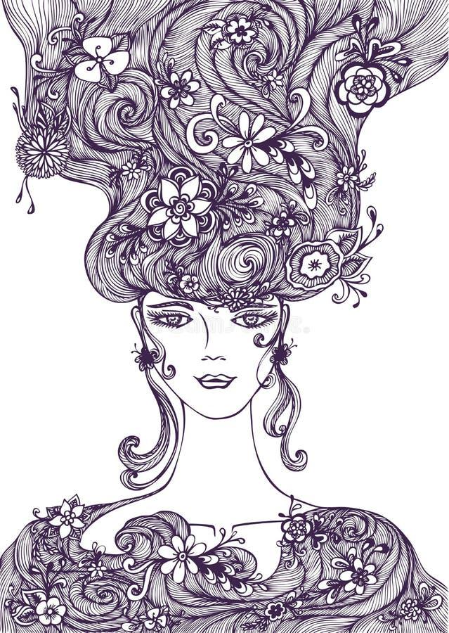 Красивая девушка притяжки руки с волосами цветков черными по белому иллюстрация вектора
