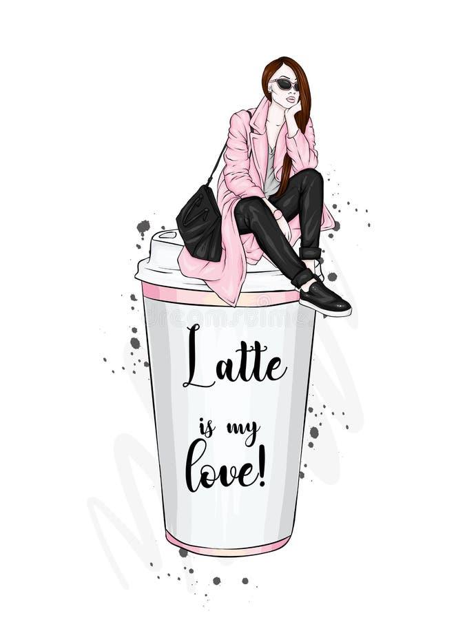Красивая девушка сидит на стекле кофе Vector иллюстрация для открытки или плаката чертеж вручает ее нижнее белье утра вверх по те иллюстрация штока