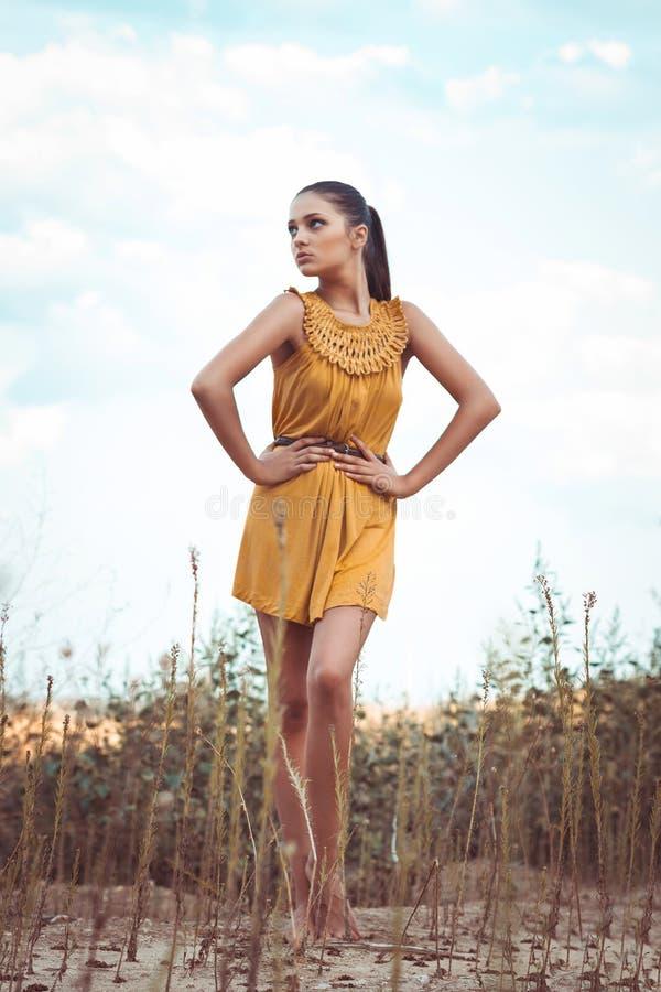 Красивая девушка стоя в поле стоковое фото rf