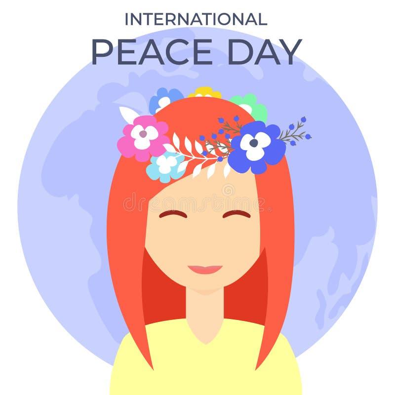 Красивая девушка с венком цветков на день мира во всем мире иллюстрация штока