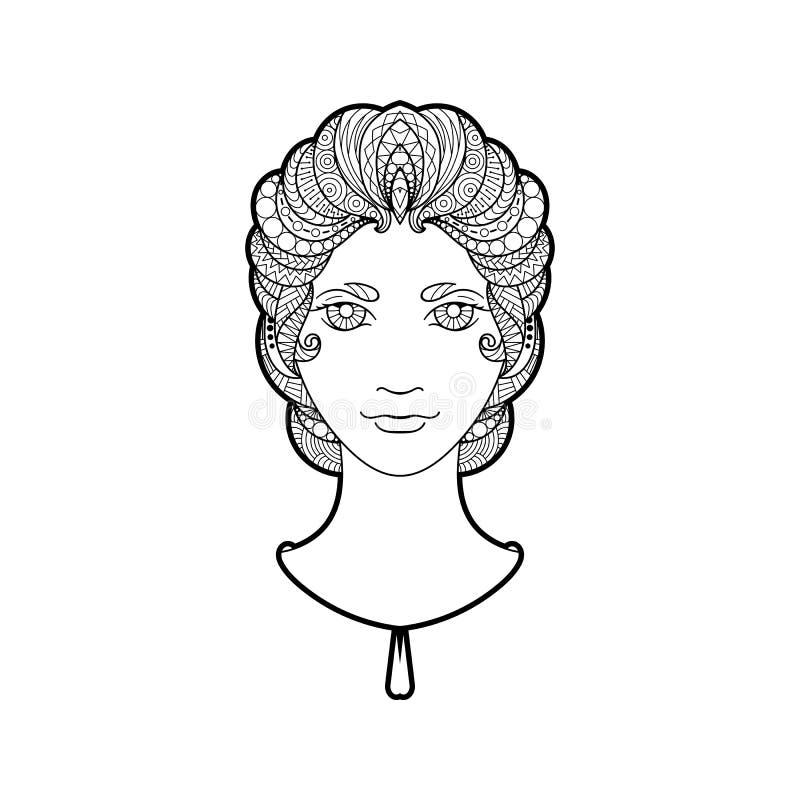 Красивая девушка с оплеткой затейливо сделанной по образцу, zentangle и яркими глазами иллюстрация вектора