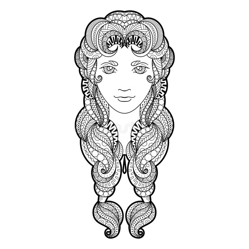 Красивая девушка с оплеткой затейливо сделанной по образцу, zentangle и яркими глазами бесплатная иллюстрация