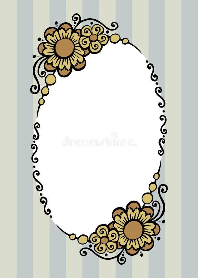 Красивая декоративная покрашенная рамка вектора с цветками бесплатная иллюстрация
