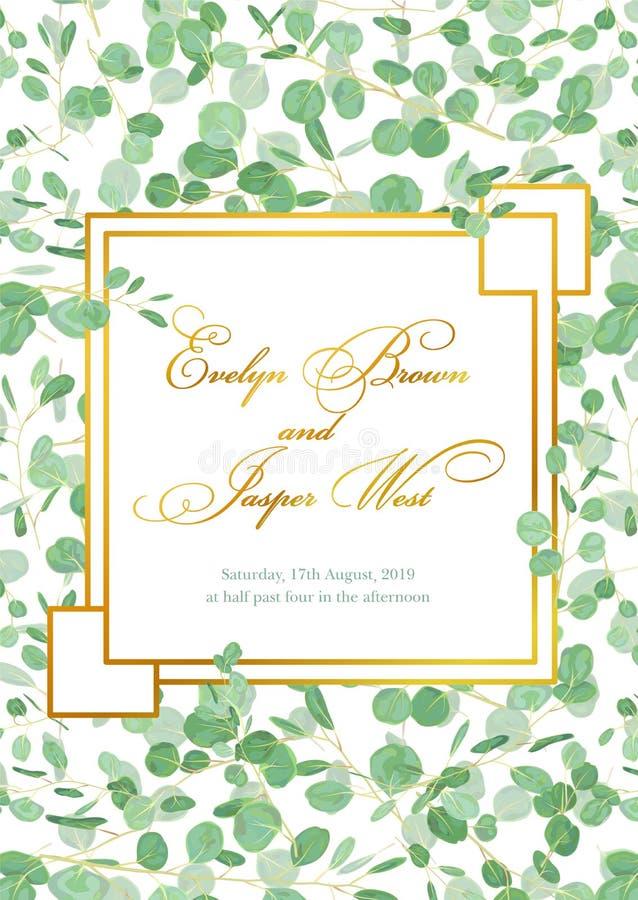 Красивая деревенская карточка приглашения свадьбы с зеленым цветом l евкалипта бесплатная иллюстрация