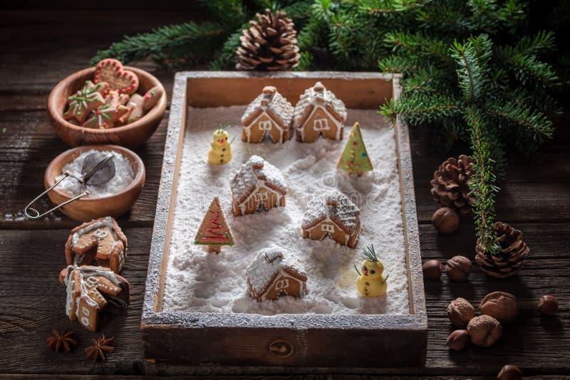 Красивая деревня пряника рождества с деревьями и снегом стоковые фото