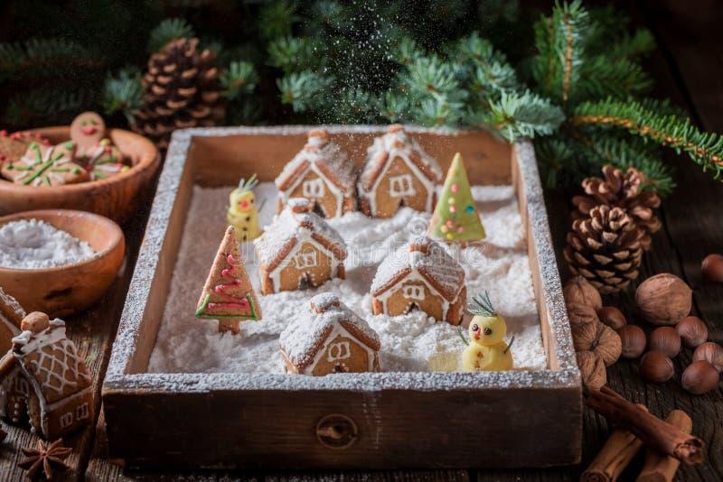 Красивая деревня пряника рождества с коттеджами и снегом стоковое фото