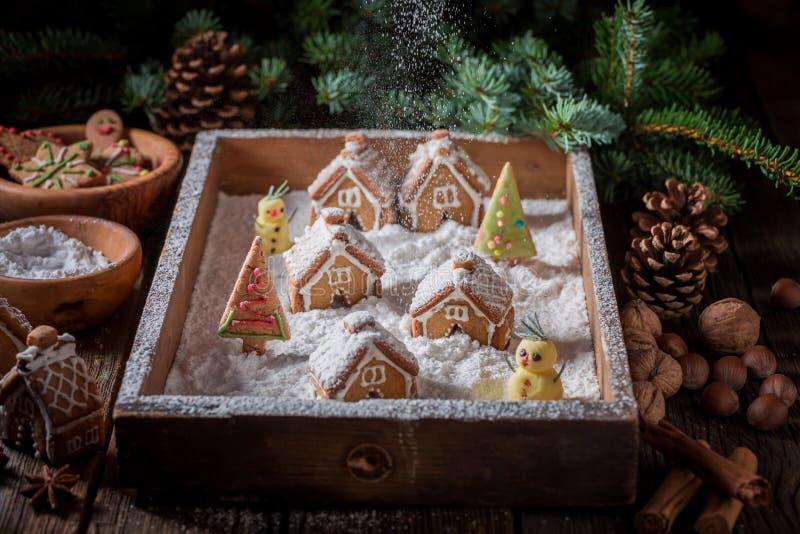 Красивая деревня пряника рождества с снеговиком и деревьями стоковое фото rf