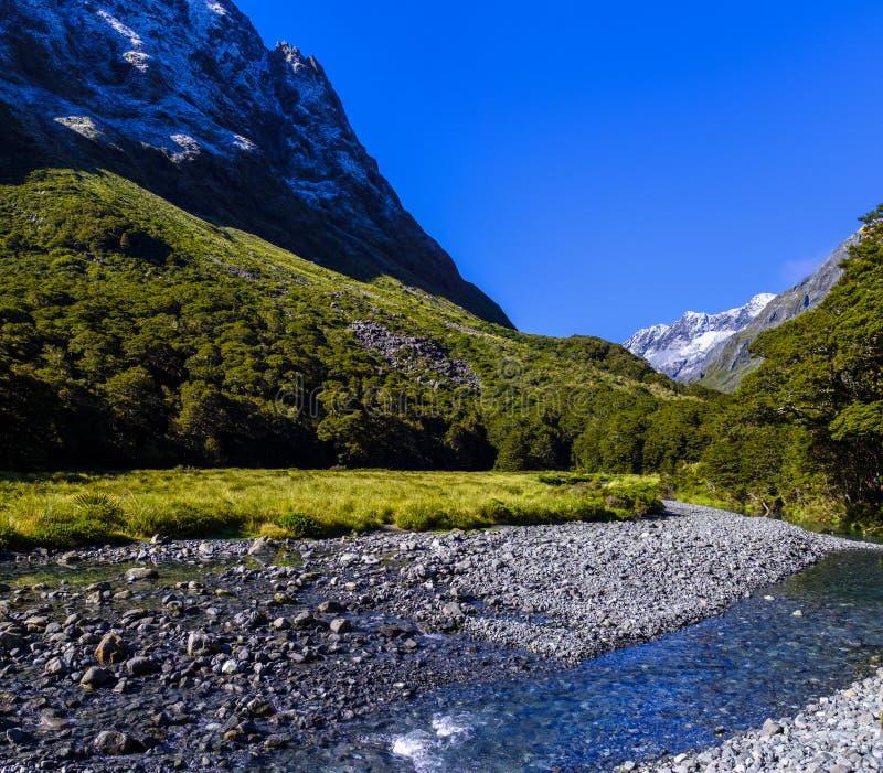 Красивая долина горы в Новой Зеландии стоковые изображения rf