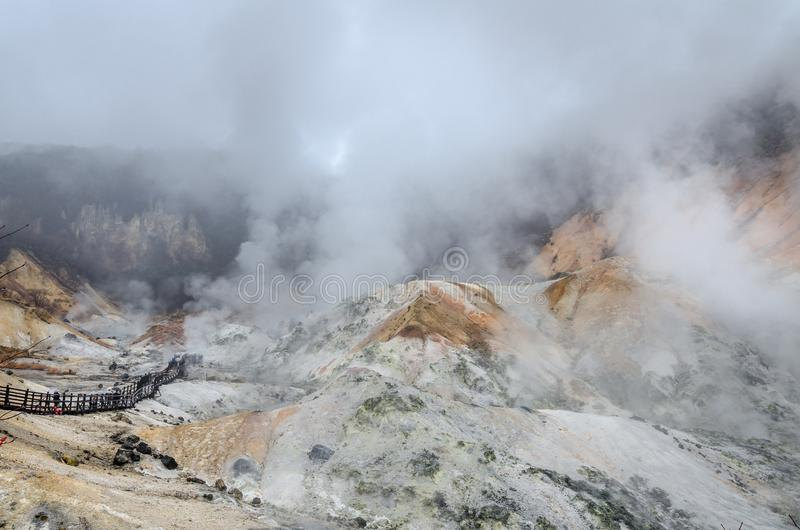 Красивая долина Jigokudani или ` долины ада ` стоковые фотографии rf