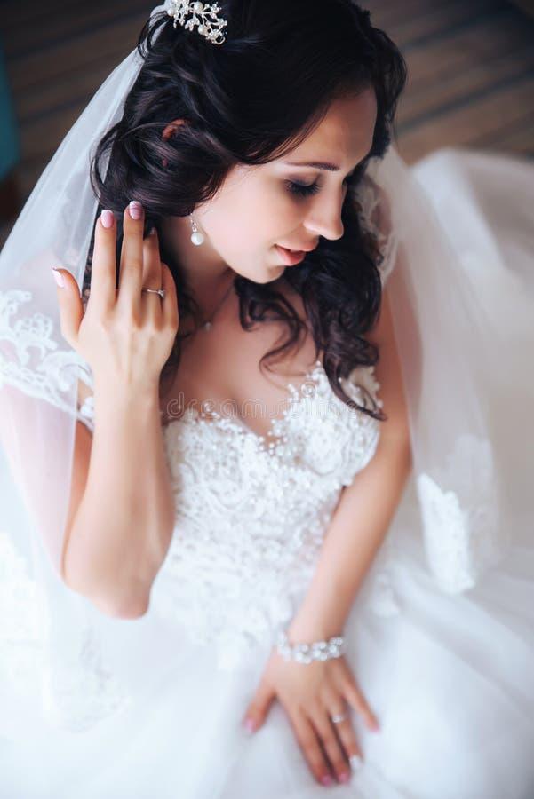 Красивая девушка брюнет невесты в белом платье свадьбы с стилем причёсок и ярким составом стоковые фотографии rf