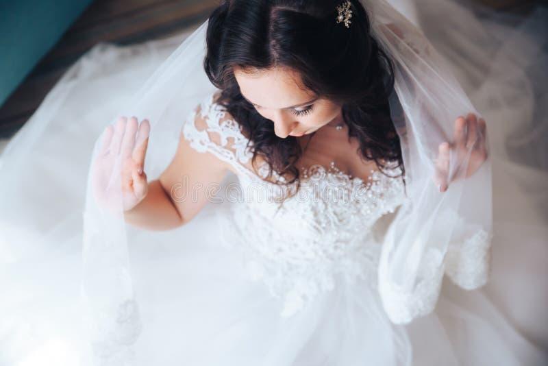 Красивая девушка брюнет невесты в белом платье свадьбы с стилем причёсок и ярким составом стоковое фото