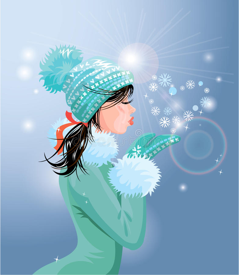 Красивая девушка брюнет с теплой голубой шляпой зимы дует иллюстрация штока