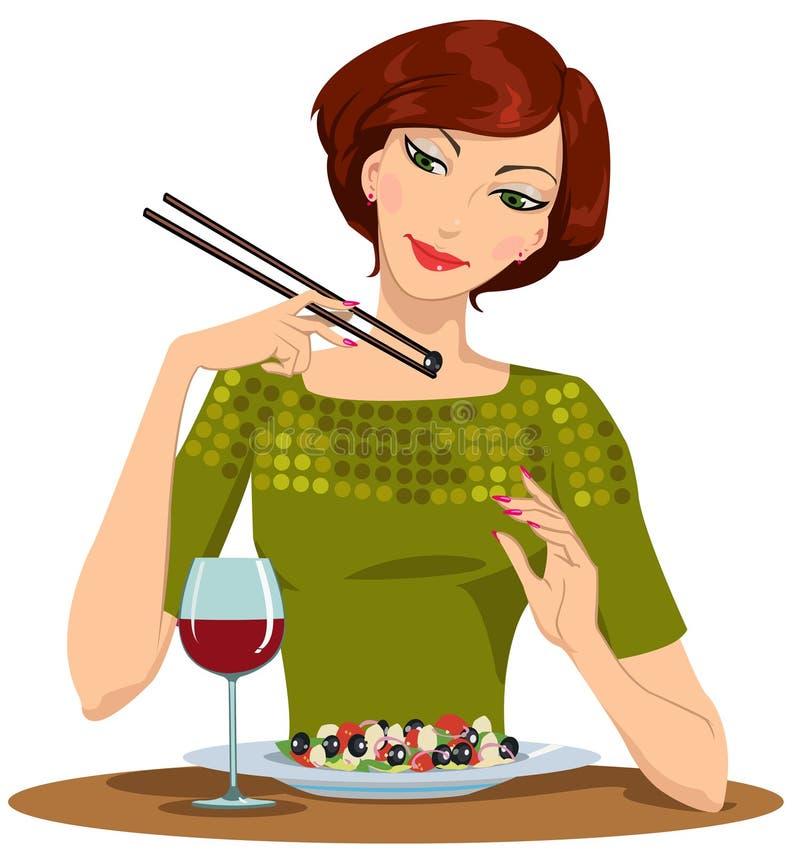 Красивая девушка обедает иллюстрация штока