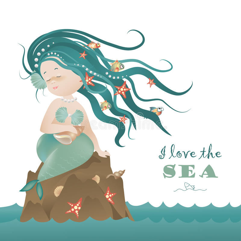 Красивая девушка русалки сидя на утесе иллюстрация штока