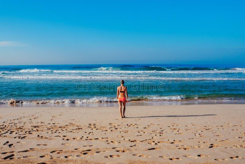 Красивая девушка серфера наслаждается каникулами на тропическом пляже Молодая женщина с surfboard в Шри-Ланке стоковое изображение rf