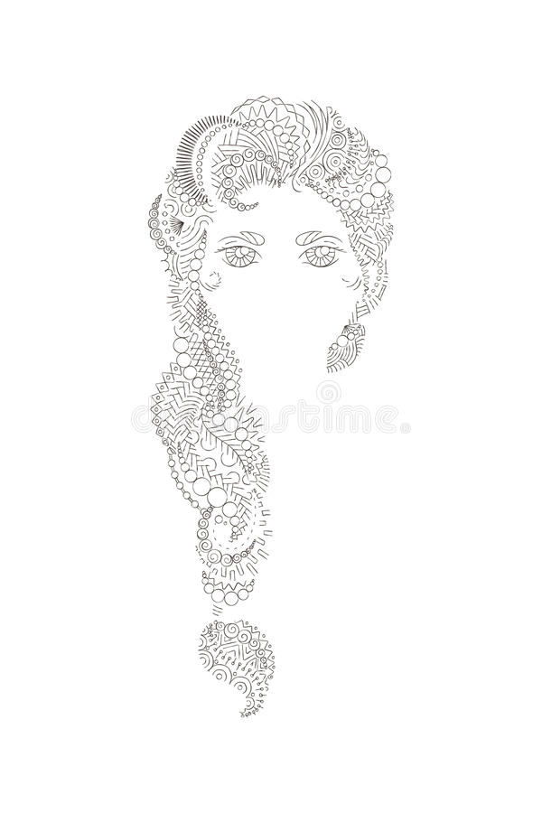 Красивая девушка с затейливо сделанный по образцу иллюстрация вектора