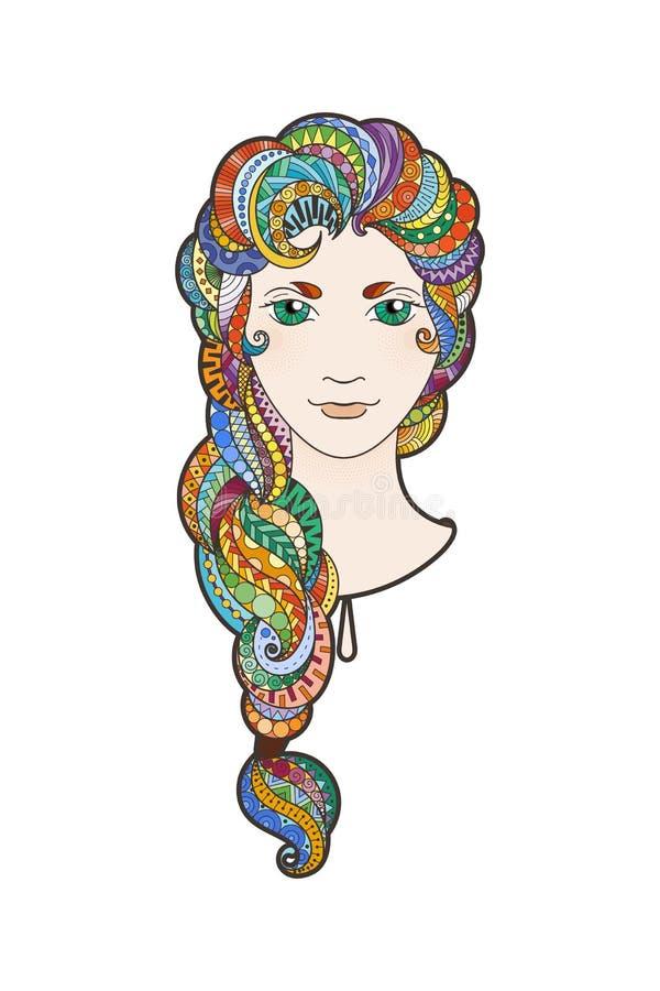 Красивая девушка с затейливо сделанный по образцу иллюстрация штока