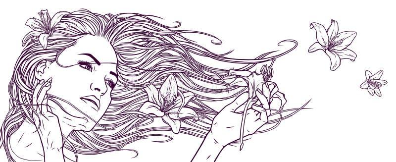 Красивая девушка с длинными волосами и лилией цветет Линейный графический чертеж Реалистическая графическая иллюстрация иллюстрация вектора