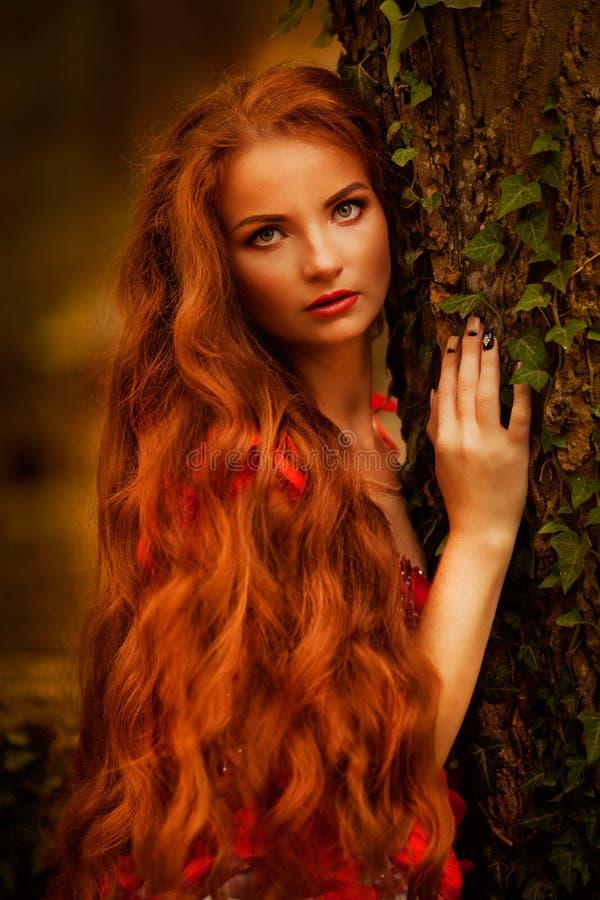 Красивая девушка с красными волосами в парке осени стоковая фотография rf