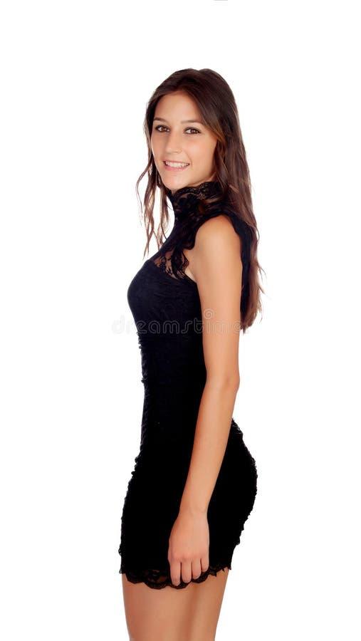 Красивая девушка с элегантным коротким платьем стоковые изображения rf