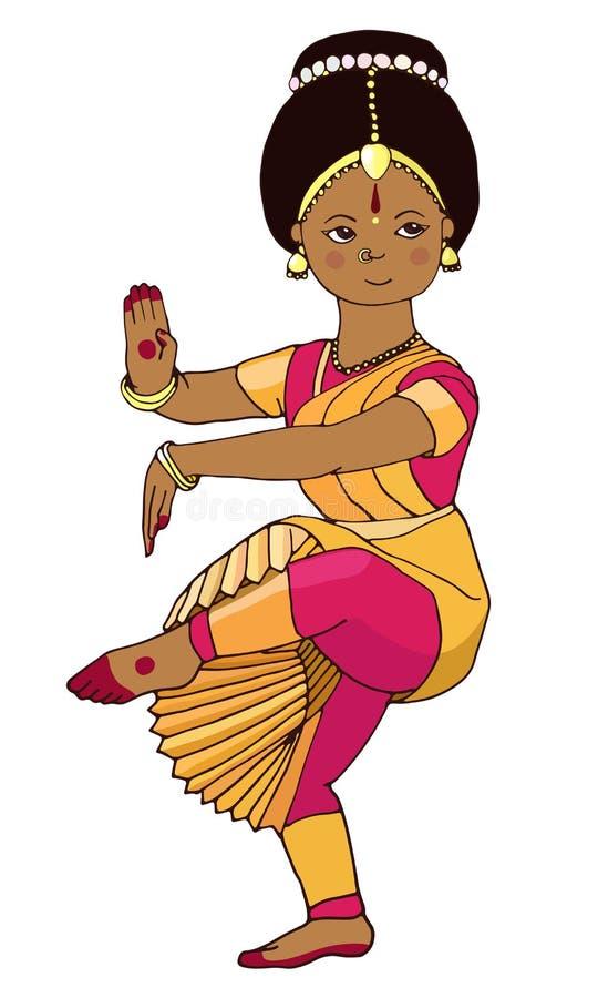 Красивая девушка танцуя индийский классический танец бесплатная иллюстрация