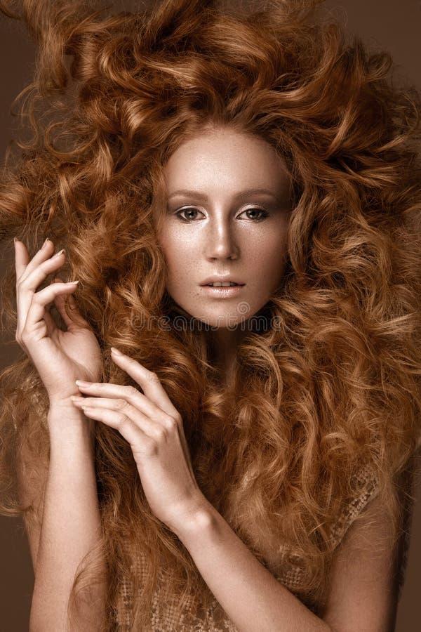 Красивая девушка Redhead с совершенно творческими волосами скручиваемостей и классическим составом Сторона красотки стоковое изображение rf