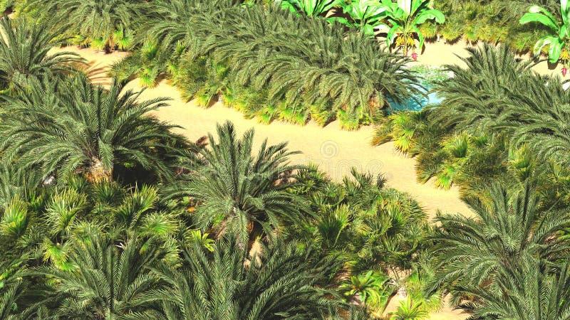 Красивая естественная предпосылка - африканский перевод оазиса 3d стоковое фото