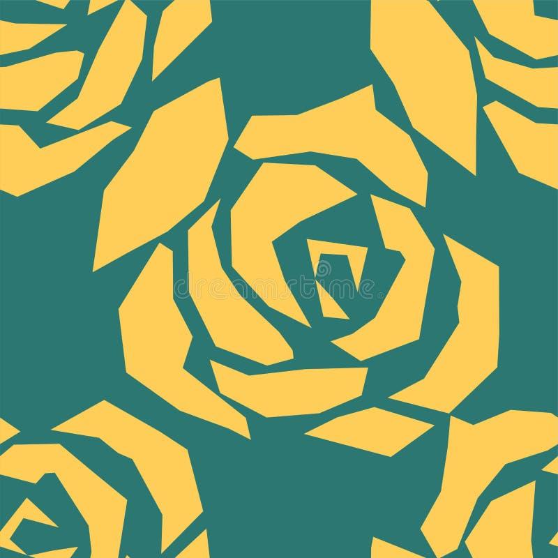 Красивая желтая и зеленая безшовная картина в розах с контурами Нарисованные вручную линии контура и ходы Улучшите для предпосылк бесплатная иллюстрация