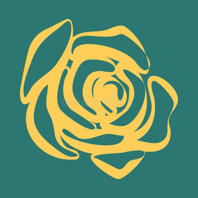 Красивая желтая и зеленая картина в розах иллюстрация вектора