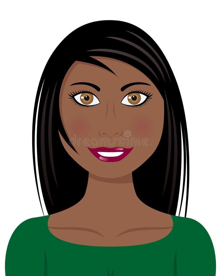 Красивая женщина Афро с длинными черными волосами иллюстрация вектора