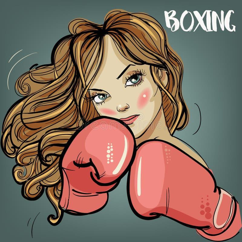 Красивая женщина во время времени и бокса фитнеса бесплатная иллюстрация