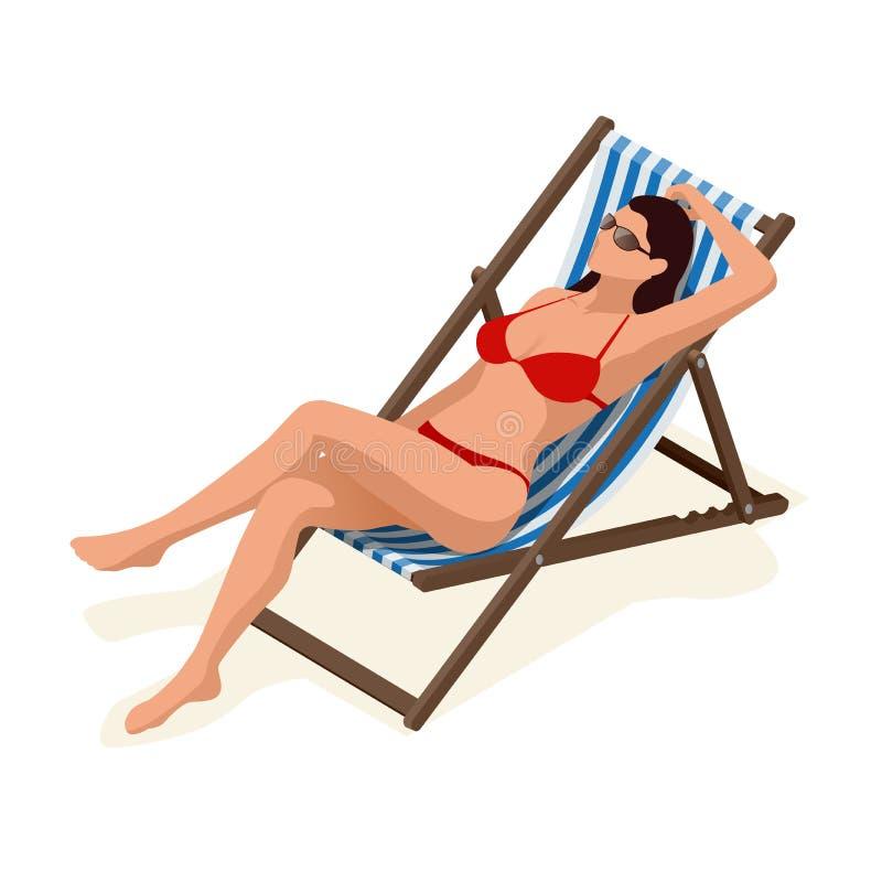 Красивая женщина в белом бикини лежа на lounger солнца загорая в солнечности Отдых для снятия усталости, загорая и бесплатная иллюстрация