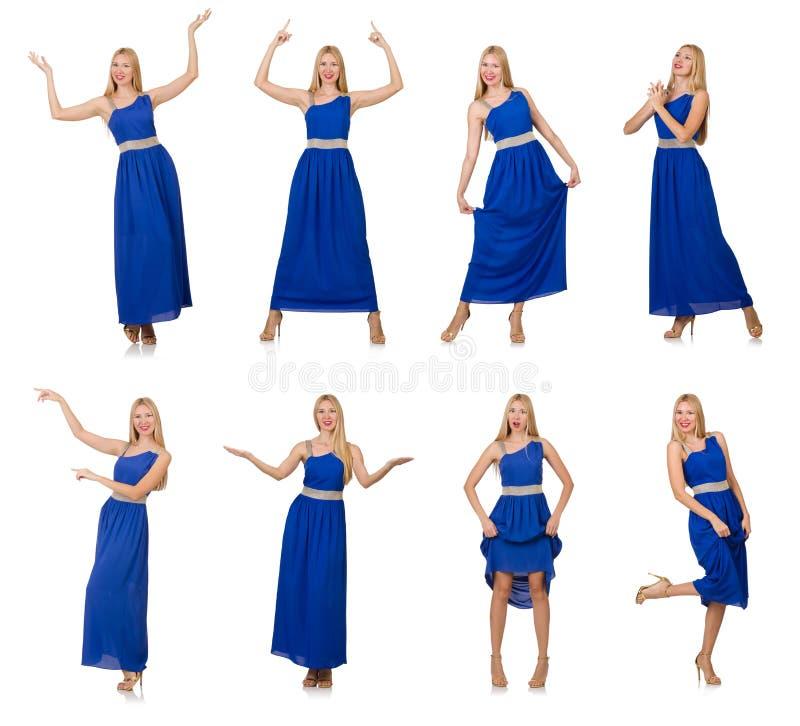 Красивая женщина в длинном голубом платье изолированном на белизне стоковое фото rf