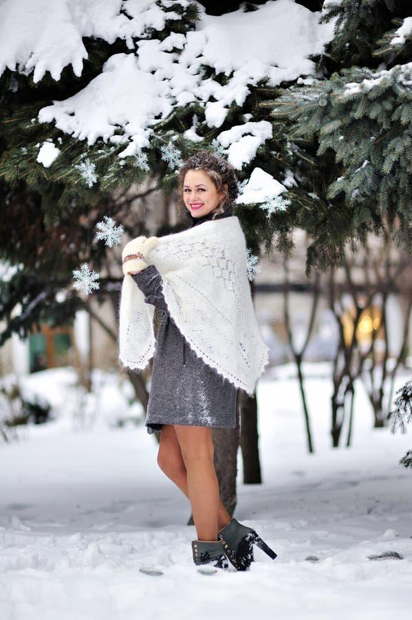 Красивая женщина в зиме связала mittens и шаль стоковые фото